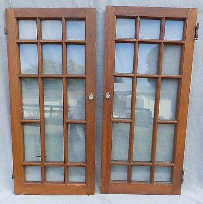 Antique Pair Cabinet 14 Lite Glass Doors Bookcase Windows Vtg Display 1739-16