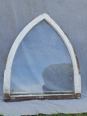 Antique Arched Steeple Gothic Window Sash Shabby Cottage Chic Old Garden 1742-16