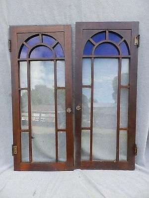 2 Vtg Cabinet Cupboard Doors Arched Cobalt Stained Glass Top Bookcase 1743-16