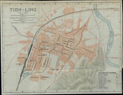 Tieh Ling Tieling China city plan 1913 scarce detailed color folding map