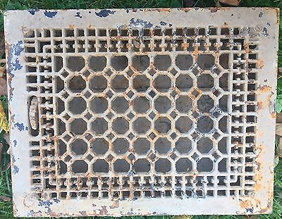 "Antique Victorian Cast Iron Floor Grate Vent w/ Louvers 14"" x 18"" Free Shipping"