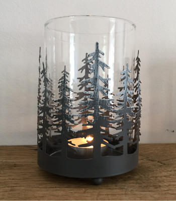 Grey Metal Silhouette Forest Tea Light Candle Holder Snow Scene Christmas French