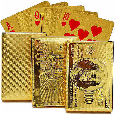 US Dollar Patten 24K Gold Plated Playing Cards Full Poker Deck Washable Gift