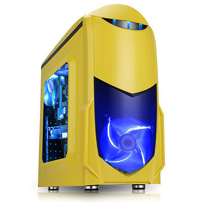 NEW! Game Max Nero Yellow mATX Case Front 12cm Blue Led Fan USB 3.0 Side Window