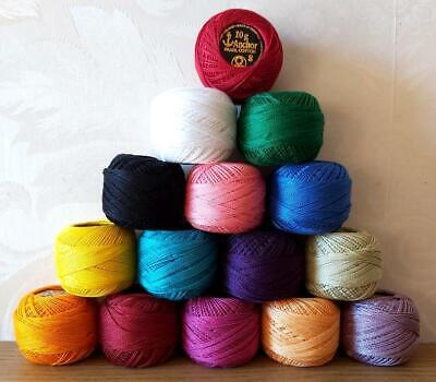 10 Anchor Pearl Cotton Crochet Solid Assorted Colors Embroidery thread Balls