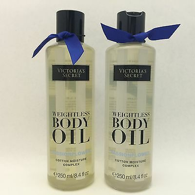 2 Victoria's Secret Weightless Body Oil Passionflower Cotton Moisture Complex