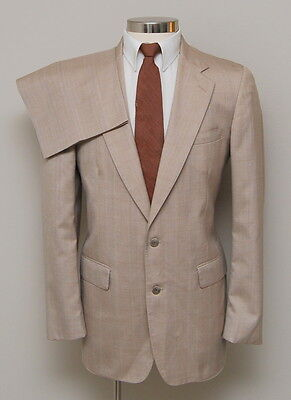 Vintage Mens 40L Cricketeer 2 Piece Tan/Blue/Gold Check Wool SUit