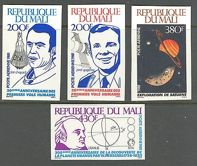 SPACE, URANUS DISCOVERY, ASTRONOMY ON MALI 1981 Scott C421-C424, IMPERFORATE,MNH