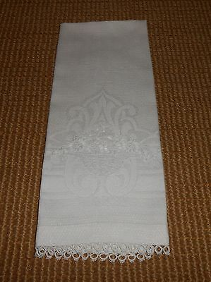 Vintage Linen Hand Towel Embroidered Flower Basket & Tatted Lace Trim Ca 1920's