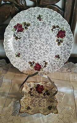 Vintage Old Foley James Kent Chintz Roses Serving Plate and Dish England