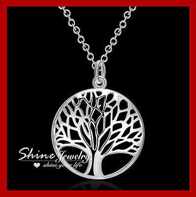 925 Sterling Silver Filled Tree of Life Necklace Leaf Mother Day Gift Pendant