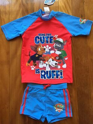 Bnwt Paw Patrol Boys Swimmers Swimming Costumes Set - Size 2 4 5 6