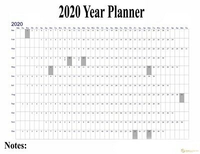 2018 Project Staff Holiday Planner Office Leave Large Wall Chart POSTER 2019 NEW