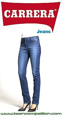 ★ Carrera PANTALONE JEANS DONNA DENIM STRETCH VITA ALTA 12oz MOD.753 blu scuro ★