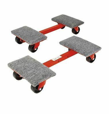 New 1000 lb. 24 - 33 in. Adjustable Heavy-Duty Metal Base Cargo Dollies 2 Pack