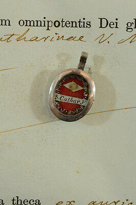 Antique Relic Reliquary st Catherine of Alexandria with authentic document seal