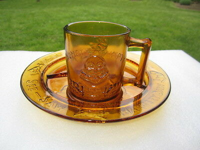 Eapg Amber Glass Reproduction Nursery Rhyme Child's Plate Humpty Dumpty Mug Cup