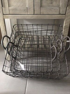 Large Wire Storage Baskets Industrial Style Square Grey Handles Magazine Toys
