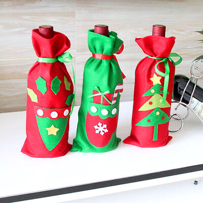 Christmas Tree/Gloves/Hat Xmas Wine Bottle Bag Cover Candy Gifts Bag Table Decor