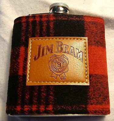 Jim Beam Whiskey Stainless Steel Flask..Hunting Theme..Flannel Cover..6 oz...NEW