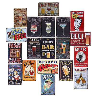 Coffee Wine Wall Decor Tiki Metal Bar BBQ Sign Retro Vintage Tin Garage Plaques