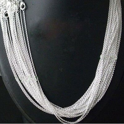 Top Quality.925 Sterling Silver Plated Necklace Trace Chain 18 Inch x 2 pcs