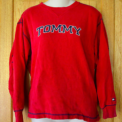VINTAGE Womens TOMMY HILFIGER Sweatshirt SPELL OUT Flag Logo M 80s 90s Crew RARE