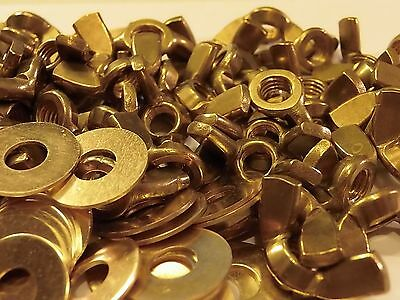 M8 Solid Brass Wing Nuts With Free M8 Brass Washers 5 / 10 Or 20 Packs