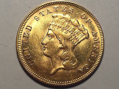 1878 $3.00 Indian Princess Gold Piece * Gem BU with Blazing Mint Luster