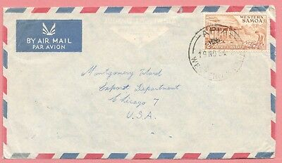 1954 Western Samoa Single Franked Cover Apia To Usa Airmail