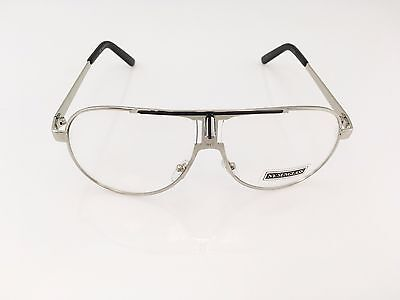 CLASSIC VINTAGE RETRO AVIATOR Style Clear Lens EYE GLASSES Silver Fashion Frame