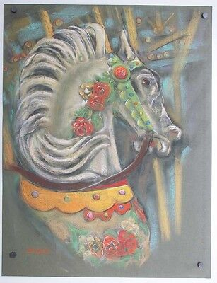 Art Drawing Circus Carousal Horse ALICE DeCAPRIO Sarasota, Fl Listed Artist