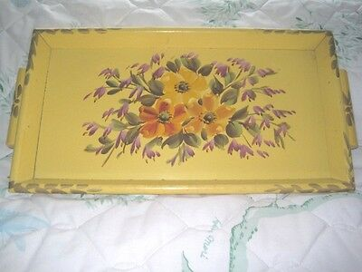 Shabby Country French Pale Yellow Muted Hand Painted Floral Wood Tole Tray