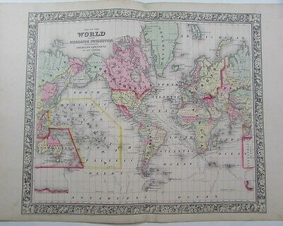 World Map Tracks of Exploration 1860 lovely antique map original hand color