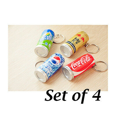 Set of 4 Can Pen Keychains : Coca Cola Sprite Red Bull Pepsi Coke Soda Kawaii
