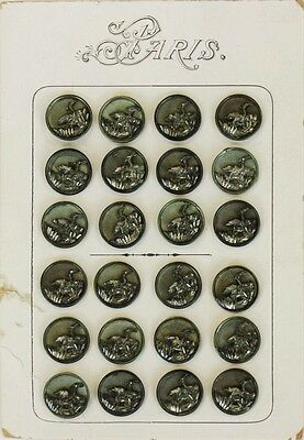 Card Set of 24 19th Century Silver Color Waterfowl Relief Buttons Made in Paris
