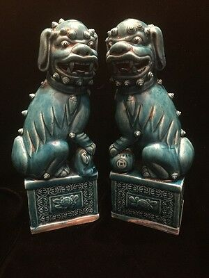 """Antique Pair of Chinese Turquoise Porcelain Foo Dogs 8-1/4"""" tall W / Rare Base"""