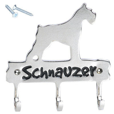 Schnauzer Metal Key Hook Wall Mount Hanger Holder For Dog Cat Playpen Home Decor