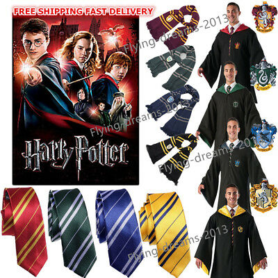 Harry Potter Cape Costume Adult Youth Gryffindor Robe Cloak Magic Wand/Tie/Scarf