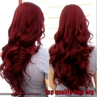 Synthetic Lace Front Wigs Body Wave Hair Glueless Dark Red Cosplay Wigs + gifts