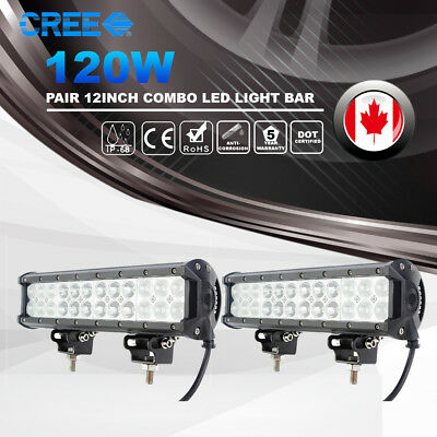 "2X 12"" Inch 120W CREE Led Light Bar Flood Spot Combo Beam Boat SUV JEEP Driving"