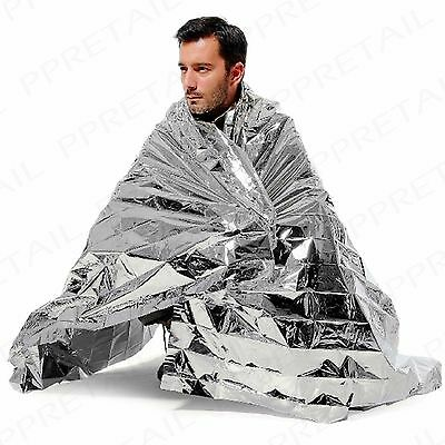 2 x EMERGENCY SILVER THERMAL FOIL BLANKETS Accident/Hypothermia/Camping Survival