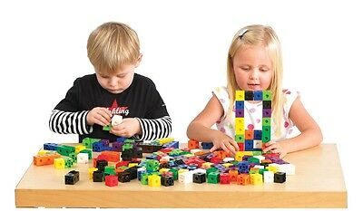 100 Snap Cubes/Unifix counting interlocking Learning Resources 10-1000 baseboard