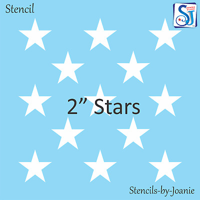 "Joanie Stencil 2"" Stars DIY Lg. Patriotic Flag Amercan Country Prim Decor Signs"
