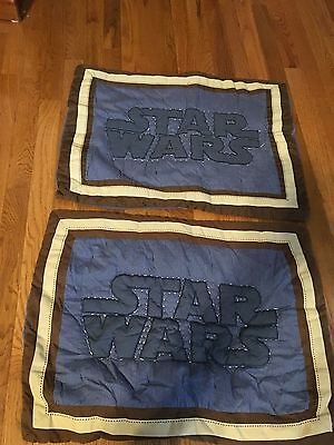 Pottery Barn Kids STAR WARS Pillow Sham Navy Blue Brown Logo Quilted