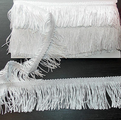 "1m 2.5"" 6cm drop Tassel Fringe / Fringing Trim lace trimming WHITE"