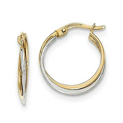14K Two Tone White & Yellow Gold Polished Hoop Earrings (0.8IN Long)