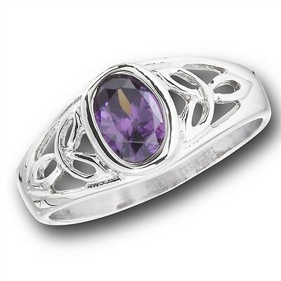 Stainless Steel Ring Lavender Cubic Zirconia CZ w Celtic Knotwork Size 6-9