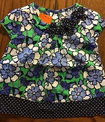 Gymboree Spring Prep Blue Floral Patchwork Top with 3D Flowers NWT Girls Size 2T
