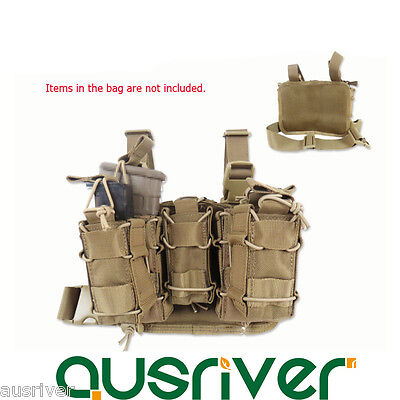 Outdoor Adjustable Military Tactical Molle Drop Leg Thigh Bags 3 Pouches Holster